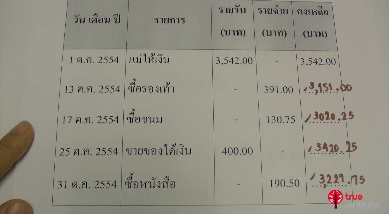 การเขียนบันทึกรายรับรายจ่าย ป.3 ตอนที่7
